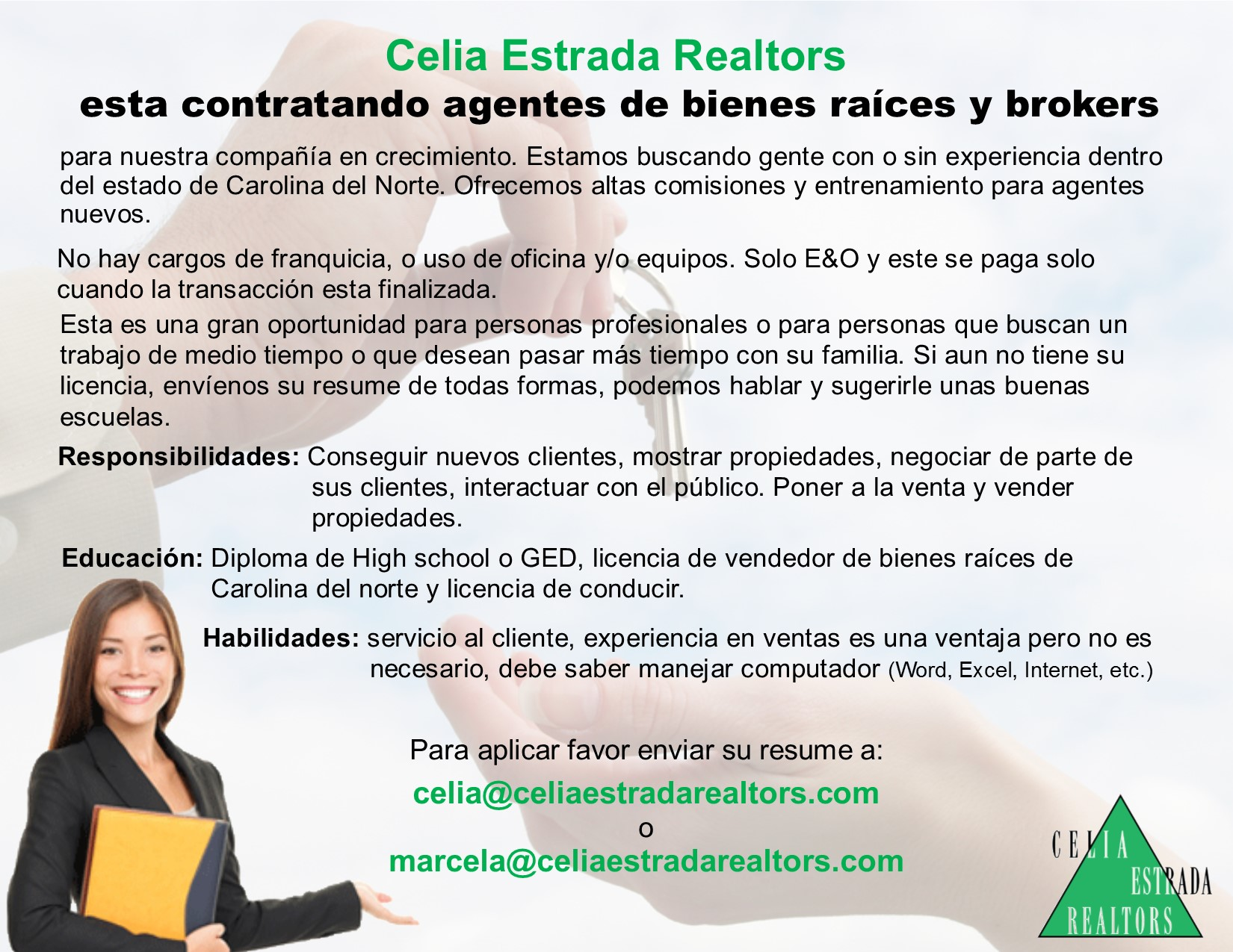 WE ARE HIRING!!! - ESTAMOS CONTRATANDO!!! - Celia Estrada Realtors